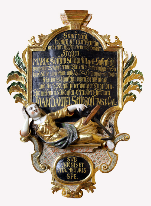 Epitaph epitomizing Maria Gotliebe Sattegast, the wife of pastor from the church in Galiny, d. 1743 Wojciech Kętrzyński Museum in Kętrzyn