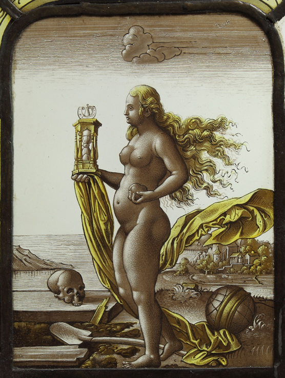 Fragment of a stained-glass window with an allegory of death, 19th century private collection